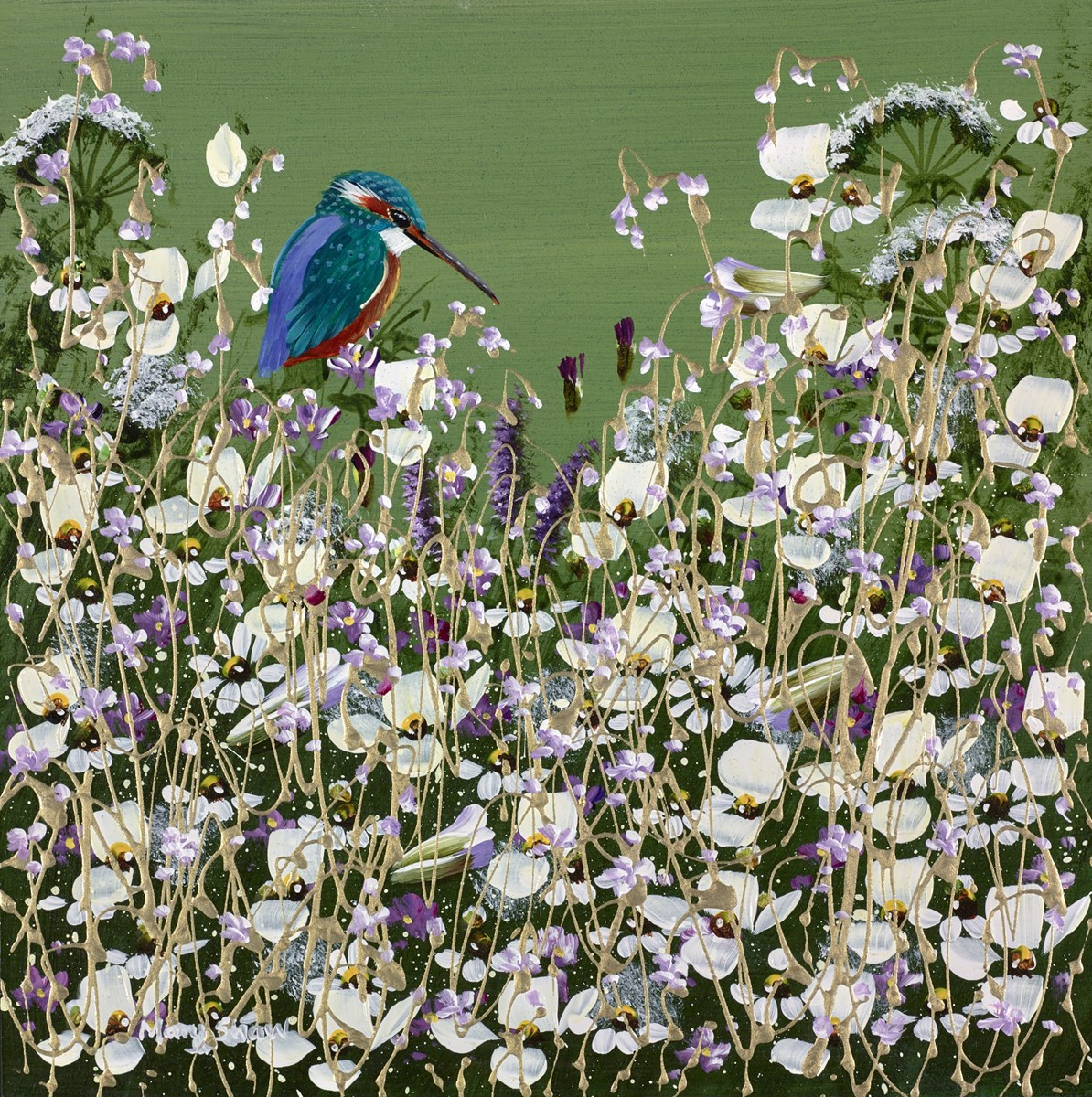 Beautiful Kingfisher V by mary shaw -  sized 12x12 inches. Available from Whitewall Galleries